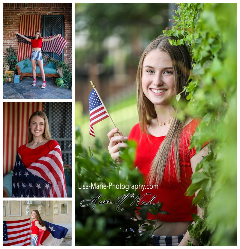 teen girl with American flag