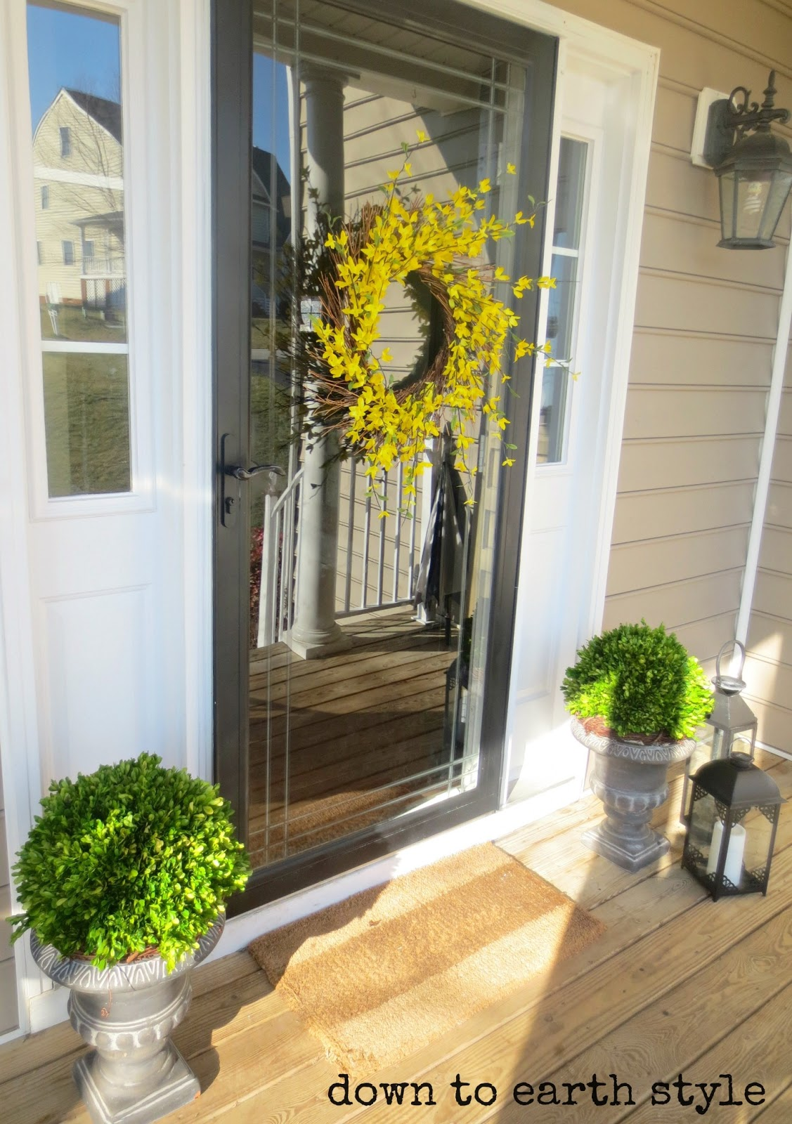 Down to earth style sunny spring porch for Front doors that let in light