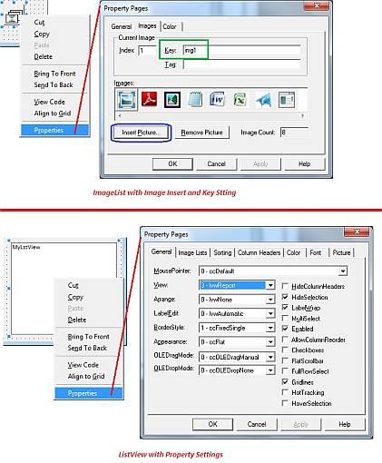 ImageList properties and ListView Properties Settings