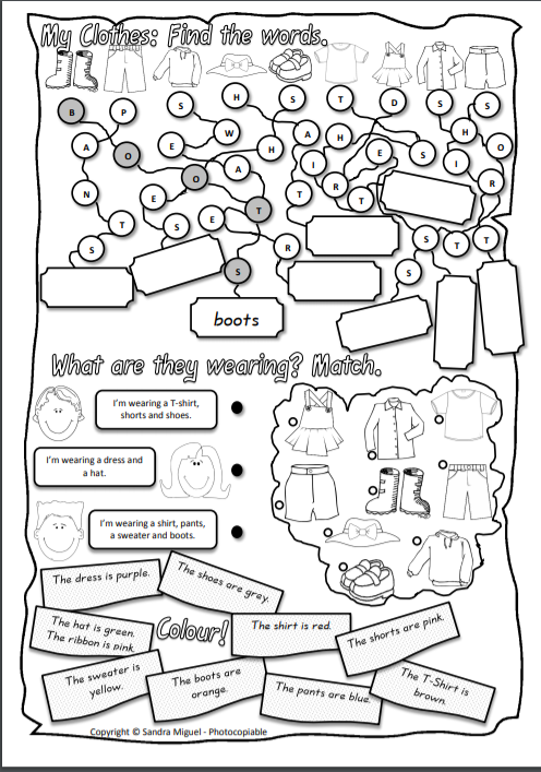 Clothes Worksheets for Kids Activities