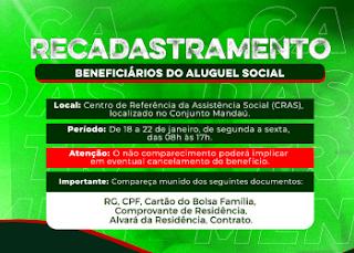 Prefeitura de Pilõezinhos convoca beneficiários do Aluguel Social para recadastramento