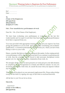 sample first warning letter to employee for poor performance