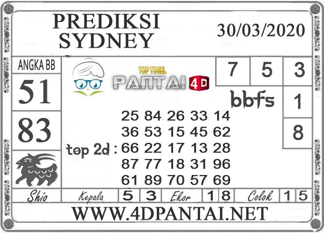 PREDIKSI TOGEL SYDNEY PANTAI4D 30 MARET 2020