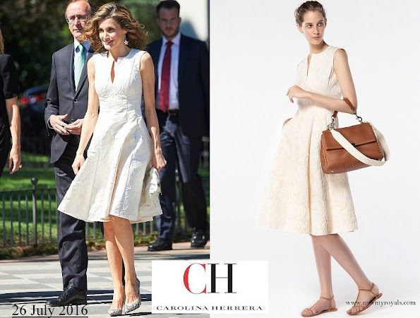 Queen Letizia wore Carolina Herrera Dress from Spring 2016 Ready-to-Wear Collection