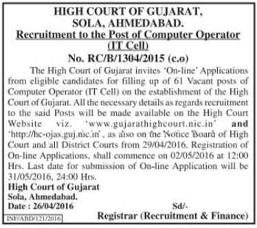 official notification for the Gujarat high court