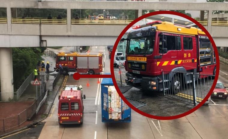 Dalam 2 Bulan,Mobil Damkar Tabrak Pembatas Jalan di Wong Tai Sin Dengan Nomor dan Lokasi Yang sama