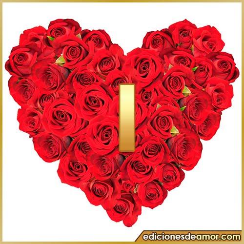 corazón de rosas con letra I
