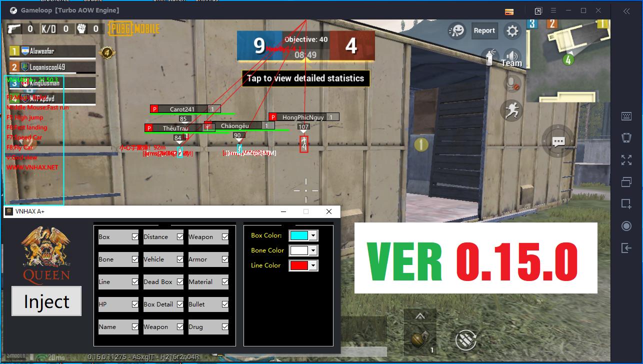VNHAX A+ Magic Bullet + ESP + High Jump... etc Pubg Mobile 0.15