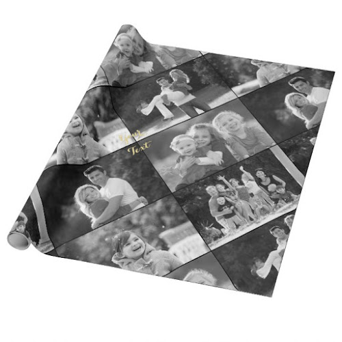 Create Vintage Style Black and White 5 Photo Collage Wrapping Paper