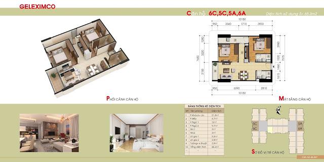 Căn hộ mẫu 5A, 5B, 6A, 6B chung cư Gemek Premium