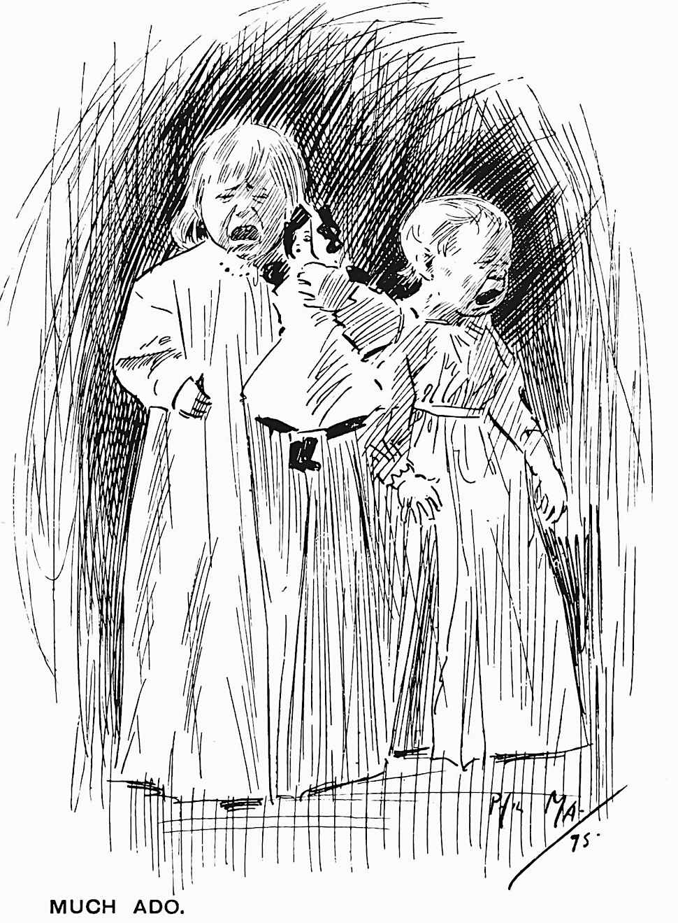 a Phil May 1894 drawing of two crying children called, much ado