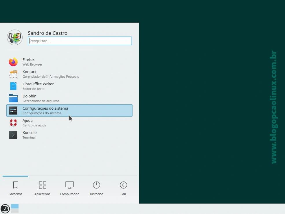 Abra o menu de aplicativos e clique em 'Configurações do sistema'