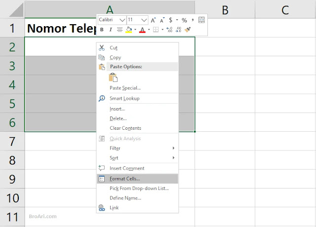 Cara Menambahkan Angka 0 di Depan Pada Excel