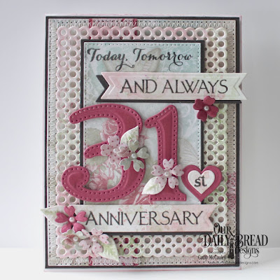 Our Daily Bread Designs Stamp Set: Celebration, Paper Collection: Shabby Rose, Custom Dies: Large Numbers, Circle Scalloped Rectangles, Pierced Rectangles, Pennant Flags, Bitty Blossoms