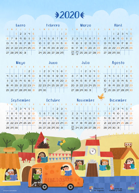 Calendario 2020 Lectura - Maria Albarran Ilustracion