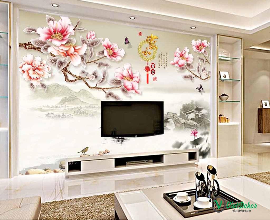 Tranh dán tường 3d hoa mộc lan trang trí phòng ngủ