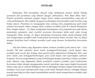 Pemanfaatan Citra Penginderaan Jauh Untuk Analisis Kesesuaian Lahan [PAPER]