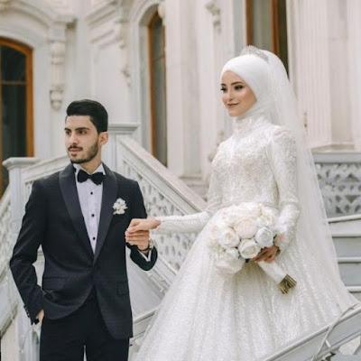 عروسة بالفستان الابيض مع العريس 2021