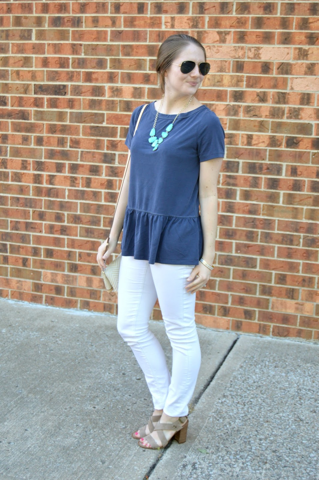 A Memory Of Us navy peplum top | A Kansas City Fashion Blog