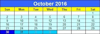 2016 Diwali Calendar