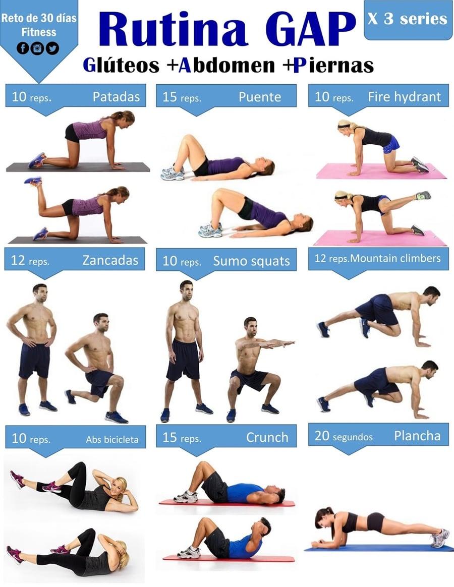 Rutina g a p reto de 30 d as fitness for Gimnasio 9 y 57
