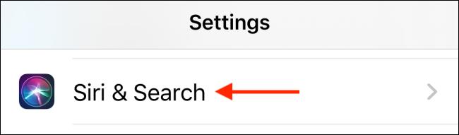 اضغط على Siri والبحث في الإعدادات