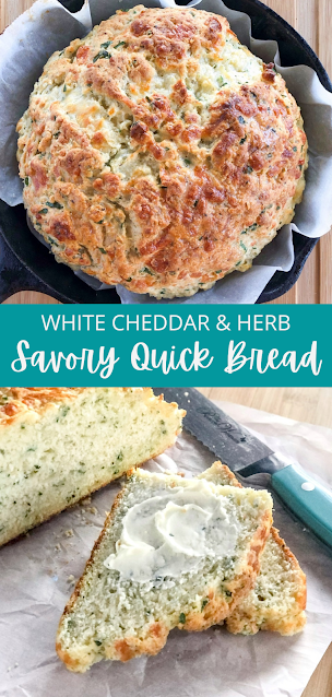 cheese and herb bread in a cast iron pan