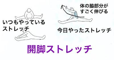 合気道の脇を伸ばして練りを出す開脚柔軟ストレッチ