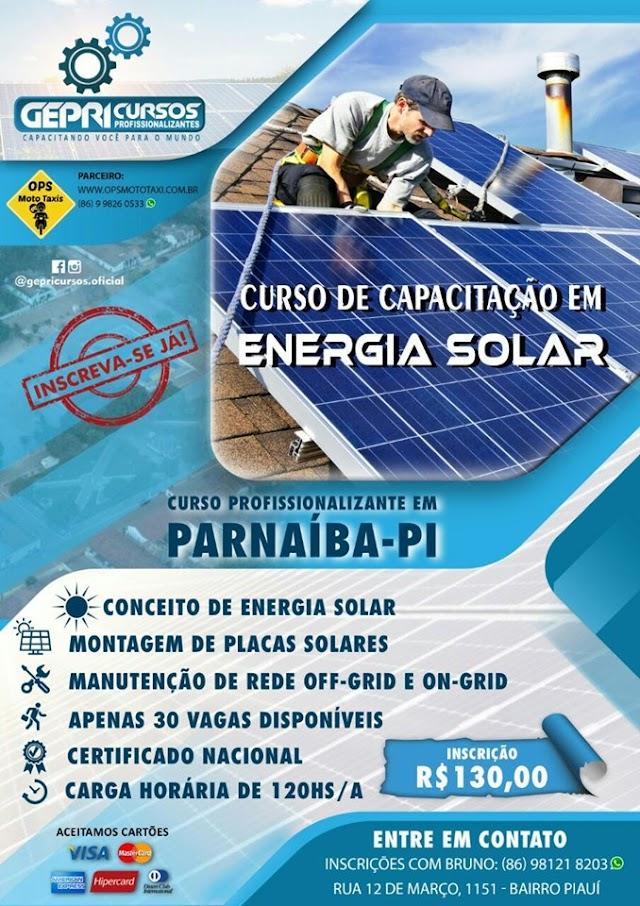 Sua chance de fazer o  Curso de Capacitação em Energia Solar Residencial em Parnaíba/PI