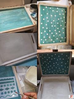 caja de madera con stencil