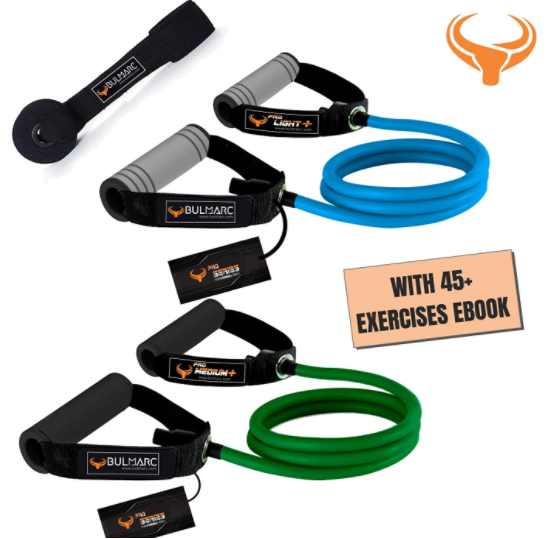 BULMARC'S Resistance Tube with Foam Handle, Door Anchor, Toning Tube, Resistance Band Pull Up Assist Band, Featuring eBOOK 150+ Exercises for Full Body Workout, Pull Ups, Weight Loss, Powerlifting