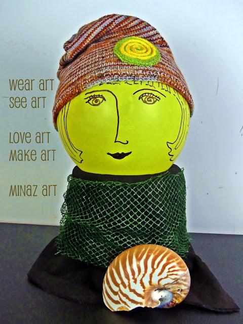Spiral Orange Knit Slouchy Hat by Minaz Jantz