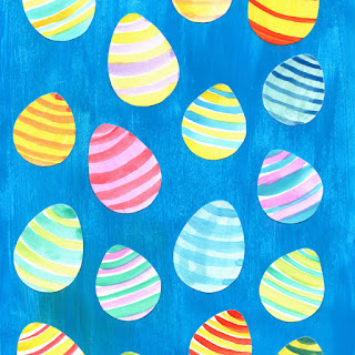 Blue Easter egg watercolor pattern