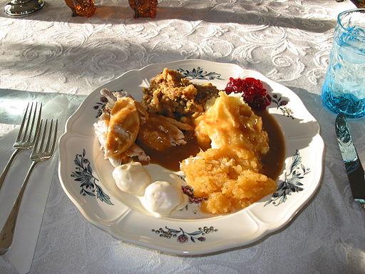 Thanksgiving Dinner: Turkey, Dressing, Potatoes, Cranberry Sauce