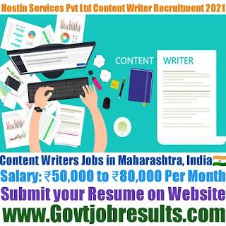 Hostin Services Pvt Ltd Content Writer Recruitment 2021-22