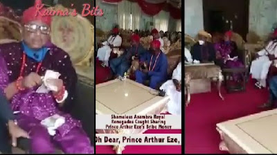 Show Of Shame: Anambra Monarchs Caught Sharing Money Before Failed Abuja Trip (Video)