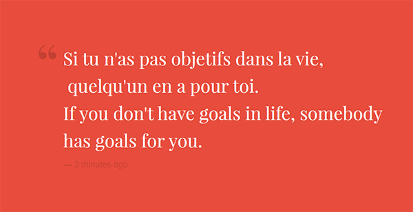 Si tu n'as pas objetifs dans la vie,  quelqu'un en a pour toi. If you don't have goals in life, somebody has goals for you.