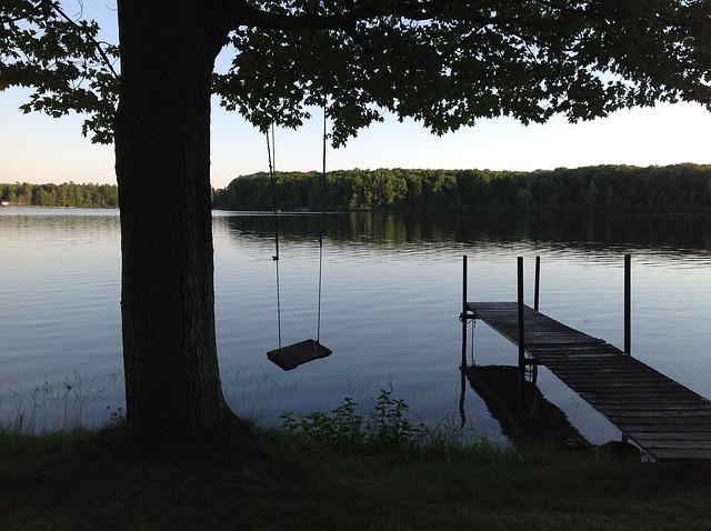 Swing, Pier and Water at Lake Michigan beach