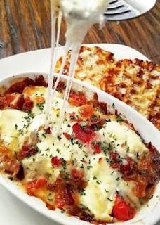 Pizza Casserole with Garlic Bread Chaffles