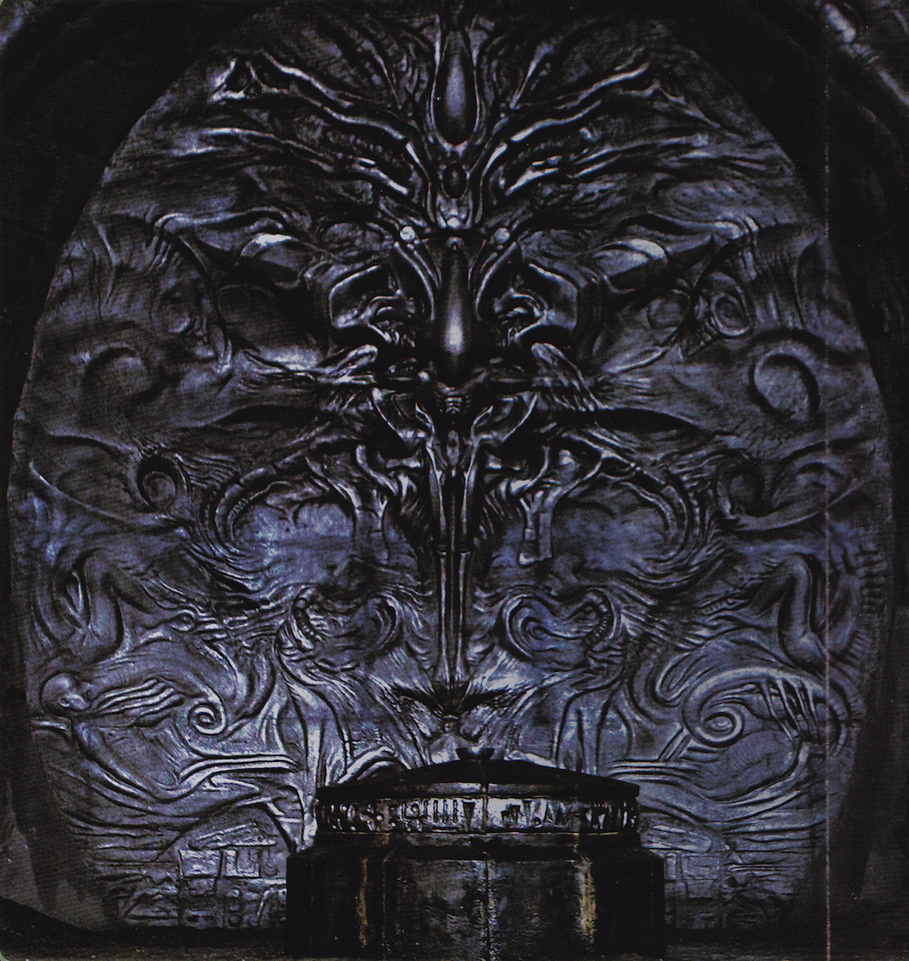 Alien explorations prometheus giger esque relief in the for Prometheus xenomorph mural