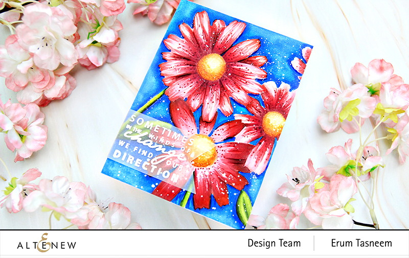 Altenew Daisies 3D Embossing Folder + Artist Alcohol Markers | Erum Tasneem | @pr0digy0