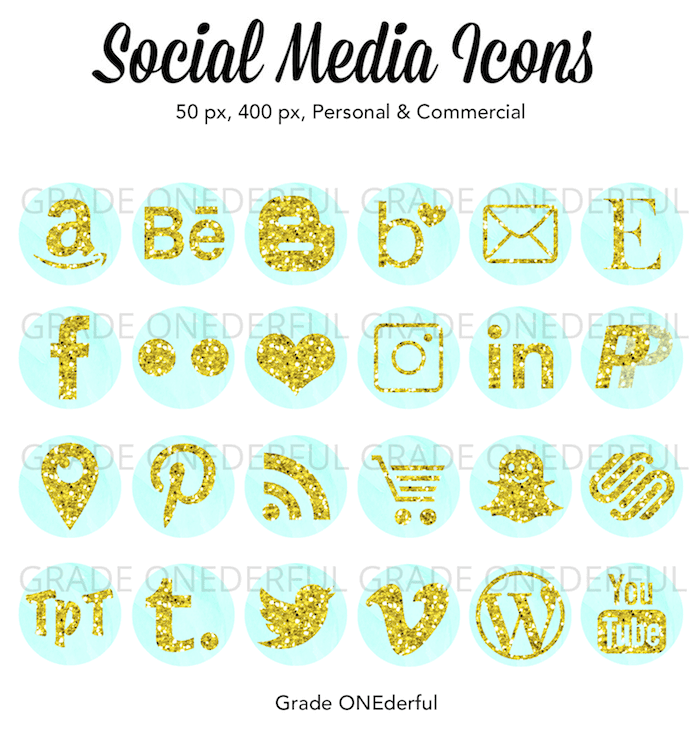 Digital Social Media Icons: Gold glitter on aqua watercolor