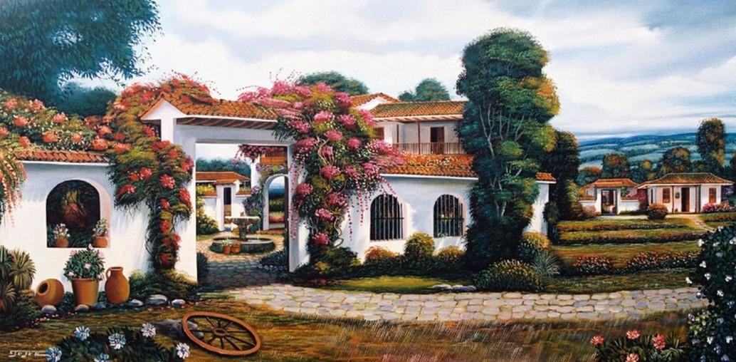 Cuadros modernos pinturas y dibujos paisajes coloniales al leo - Cuadros estilo colonial ...
