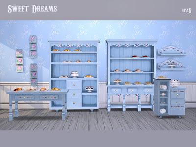 Sweet Dreams Сладкие сны для The Sims 4 Свежий и восхитительный, этот набор имеет все для вашего французского интерьера в стиле кантри. Включает 13 предметов: - 3 шкафа, - узкий стол, - полка, - картины, - 7 вкусных декоративных видов выпечки. Автор: soloriya