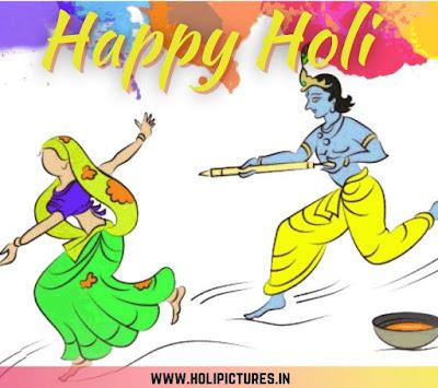happy Holi HD images with Radha Krishna