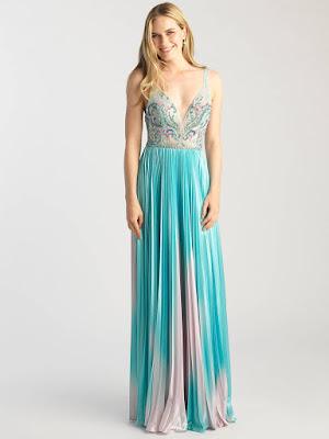 V-neck prom dress Madison James Turquoise/Multi color