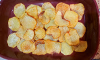 base layer of fried potato slices for allergy friendly moussaka