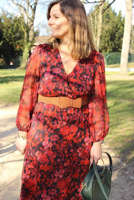 sac zara, robe rouge mango printemps été 2020, look du jour, les petites bulles de ma vie