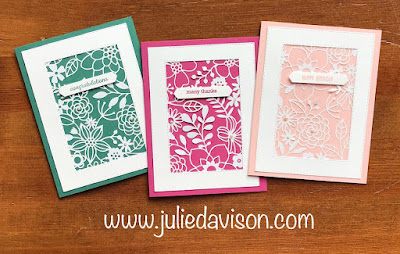 VIDEO: 3 Cards in 30 Seconds ~ Stampin' Up! Delightfully Detailed Laser-Cut Paper In Color Cards  ~ www.juliedavison.com