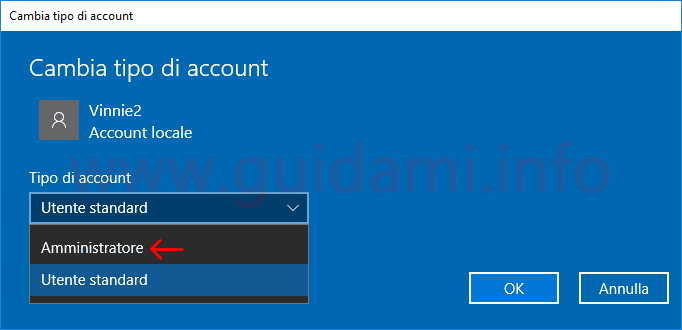 Windows 10 finestra Cambia tipo di account da utente Standard a Amministratore
